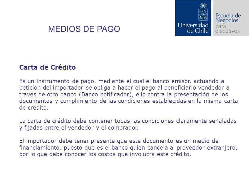 MEDIOS DE PAGO Carta de Crédito
