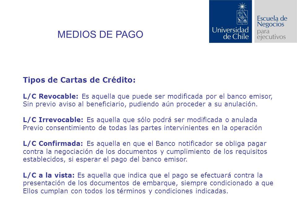 MEDIOS DE PAGO Tipos de Cartas de Crédito: