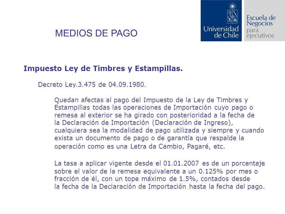MEDIOS DE PAGO Impuesto Ley de Timbres y Estampillas.