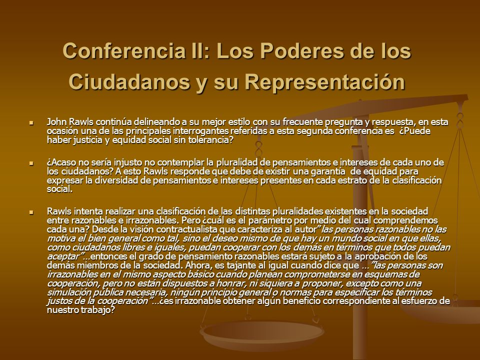 Conferencia II: Los Poderes de los Ciudadanos y su Representación