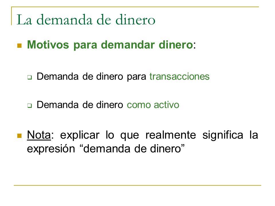 La demanda de dinero Motivos para demandar dinero: