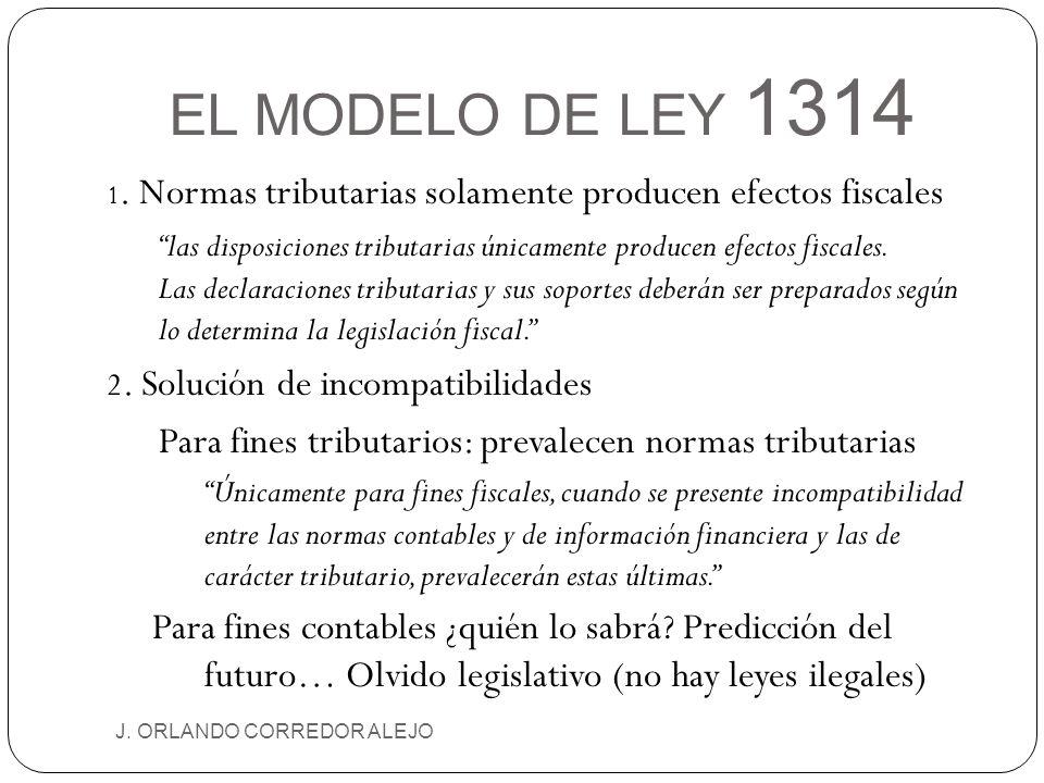EL MODELO DE LEY 1314 1. Normas tributarias solamente producen efectos fiscales.