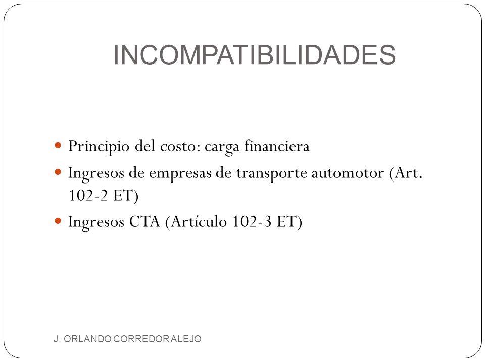 INCOMPATIBILIDADES Principio del costo: carga financiera