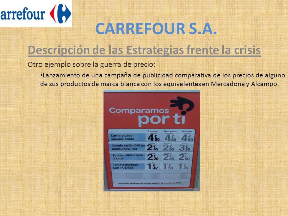 CARREFOUR S.A. Descripción de las Estrategias frente la crisis