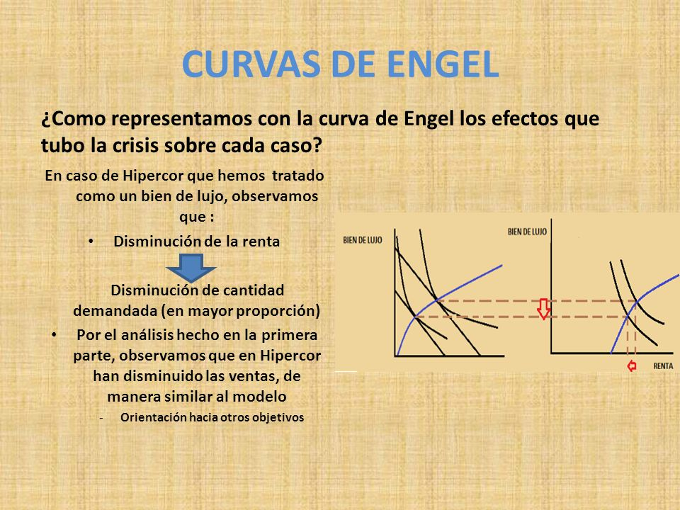 CURVAS DE ENGEL ¿Como representamos con la curva de Engel los efectos que tubo la crisis sobre cada caso