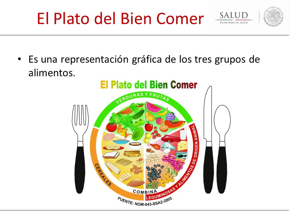 El Plato del Bien Comer Es una representación gráfica de los tres grupos de alimentos.
