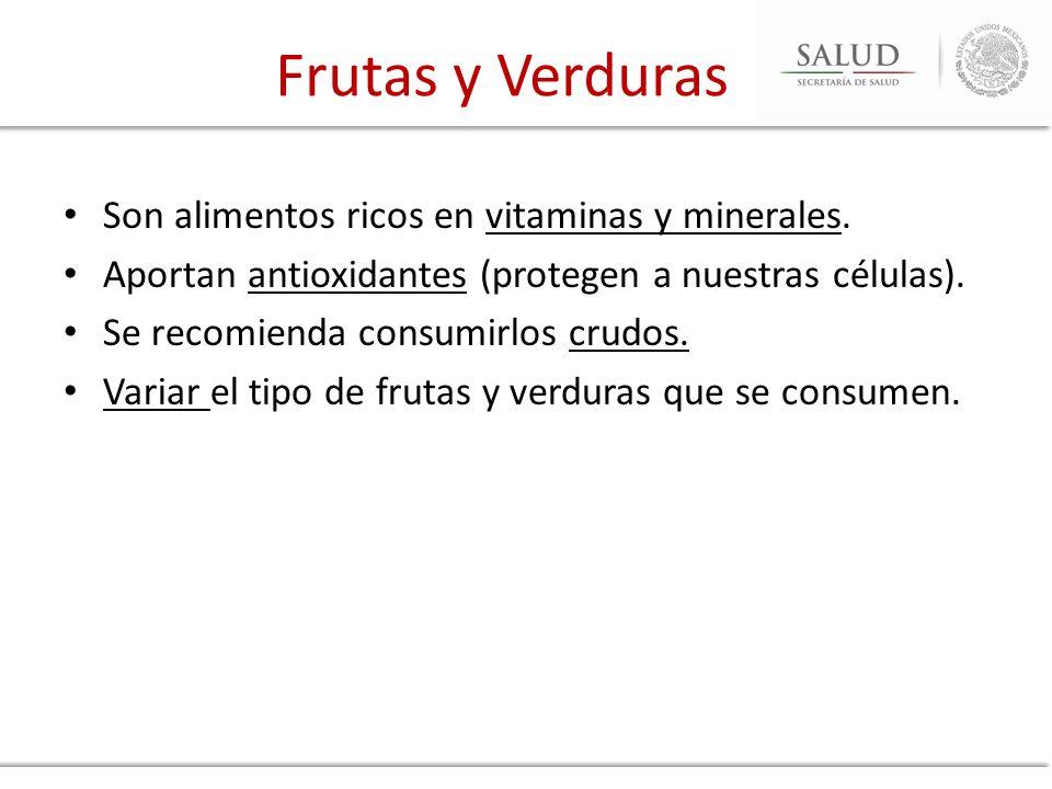 Frutas y Verduras Son alimentos ricos en vitaminas y minerales.