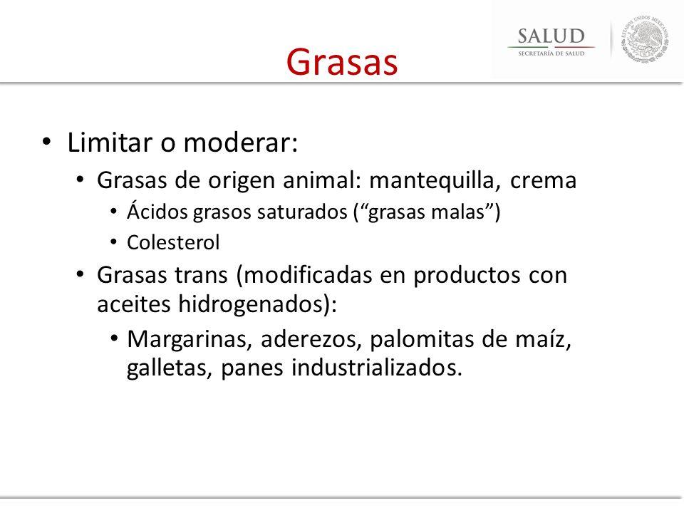 Grasas Limitar o moderar: Grasas de origen animal: mantequilla, crema