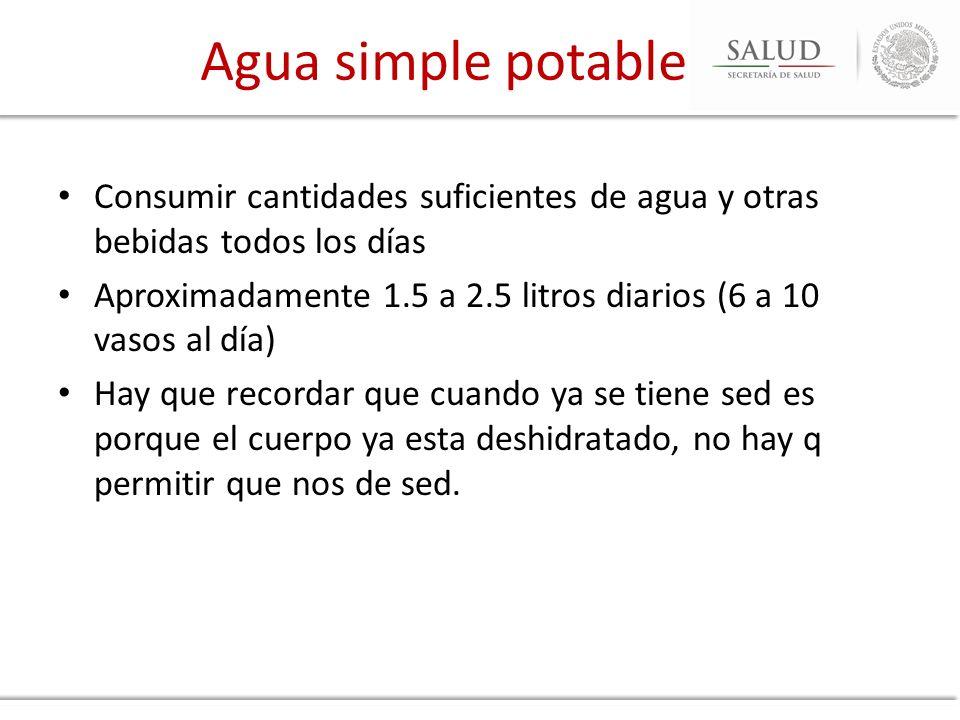 Agua simple potable Consumir cantidades suficientes de agua y otras bebidas todos los días.