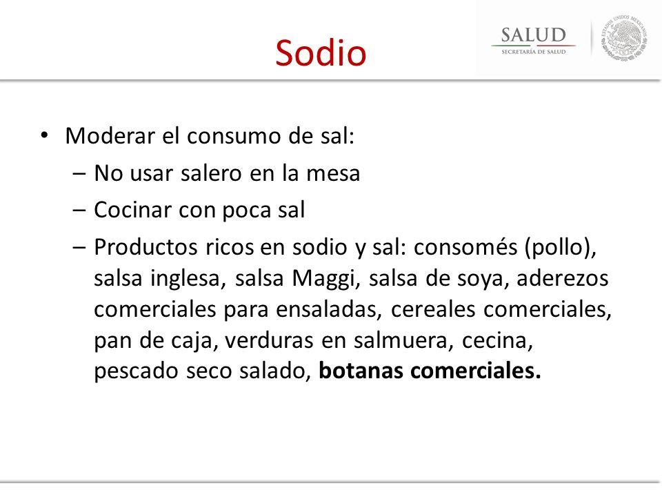 Sodio Moderar el consumo de sal: No usar salero en la mesa