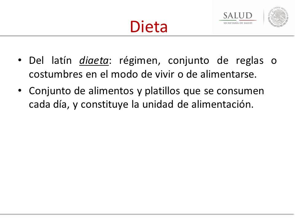 Dieta Del latín diaeta: régimen, conjunto de reglas o costumbres en el modo de vivir o de alimentarse.