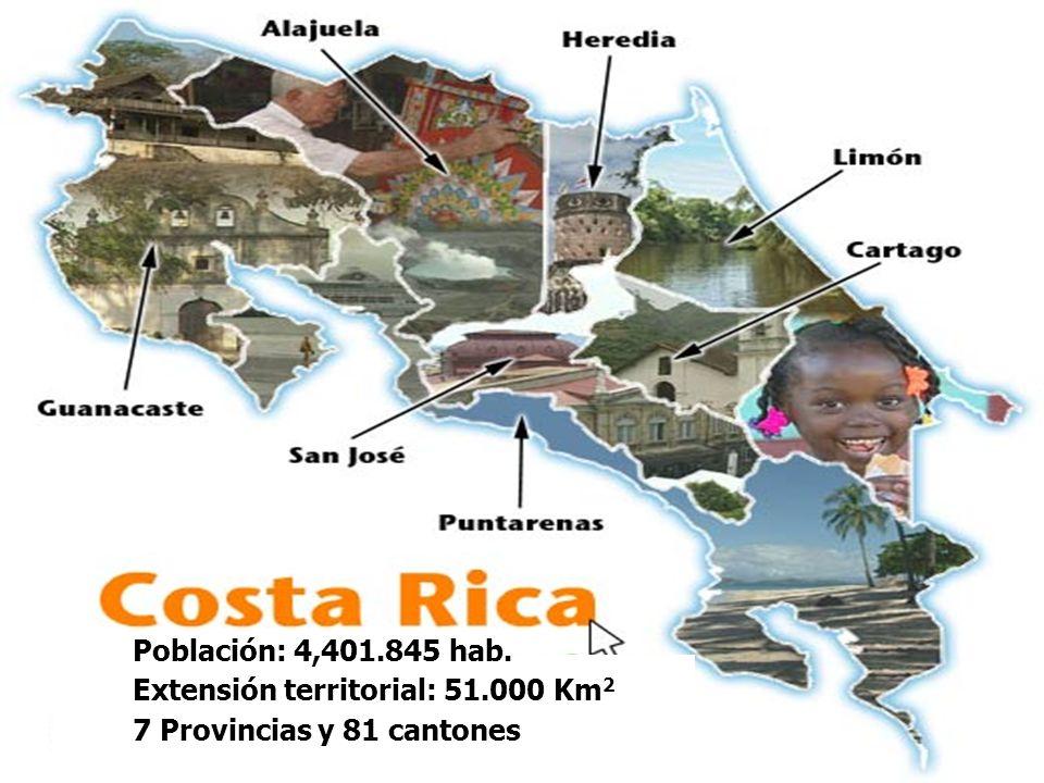 Población: 4,401.845 hab. Extensión territorial: 51.000 Km2 7 Provincias y 81 cantones