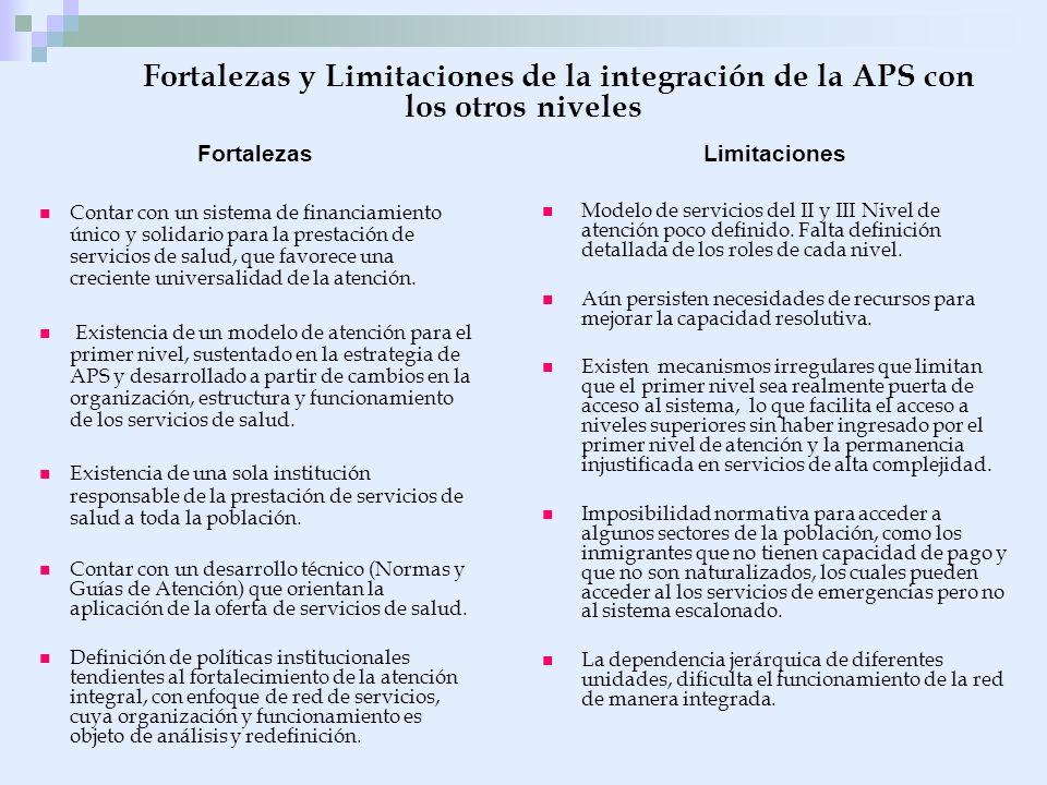 Fortalezas y Limitaciones de la integración de la APS con los otros niveles