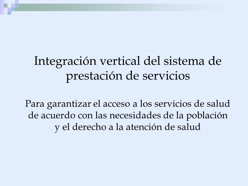 Integración vertical del sistema de prestación de servicios Para garantizar el acceso a los servicios de salud de acuerdo con las necesidades de la población y el derecho a la atención de salud