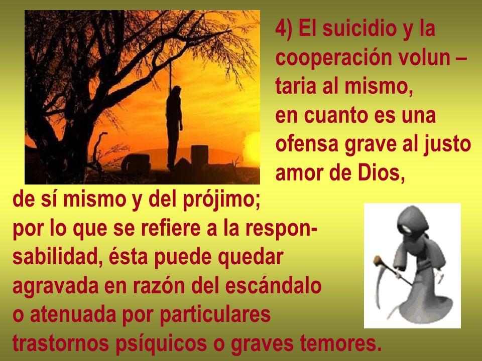 4) El suicidio y lacooperación volun – taria al mismo, en cuanto es una. ofensa grave al justo. amor de Dios,