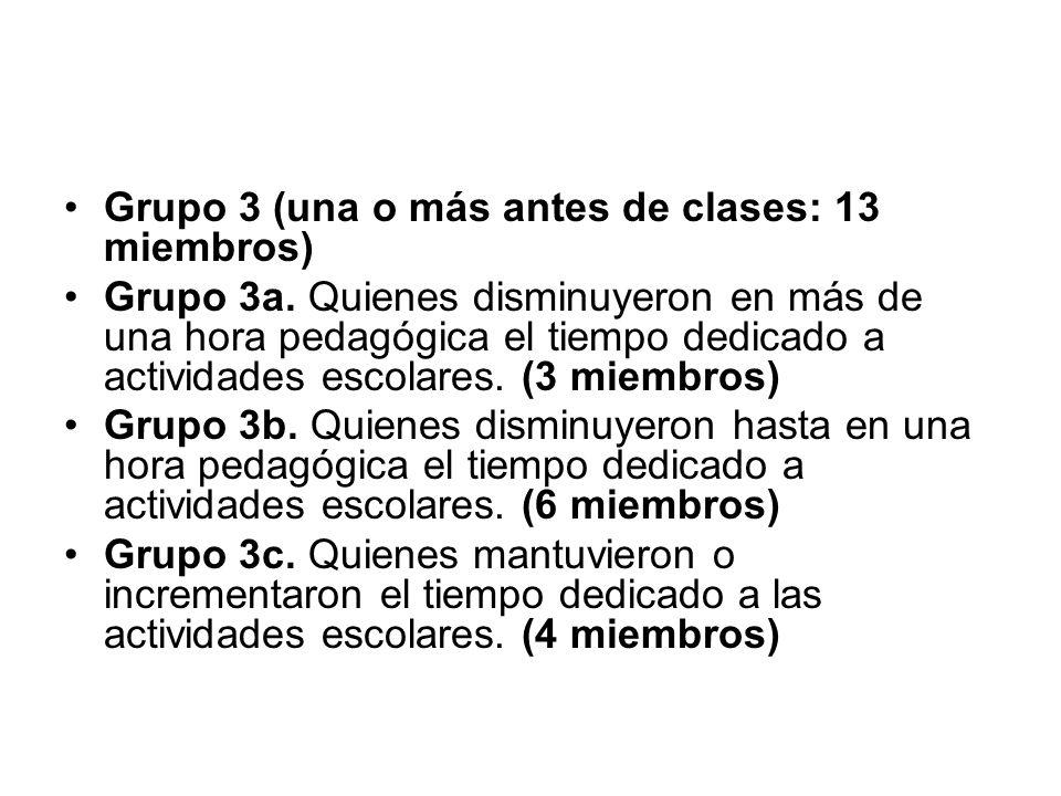 Grupo 3 (una o más antes de clases: 13 miembros)