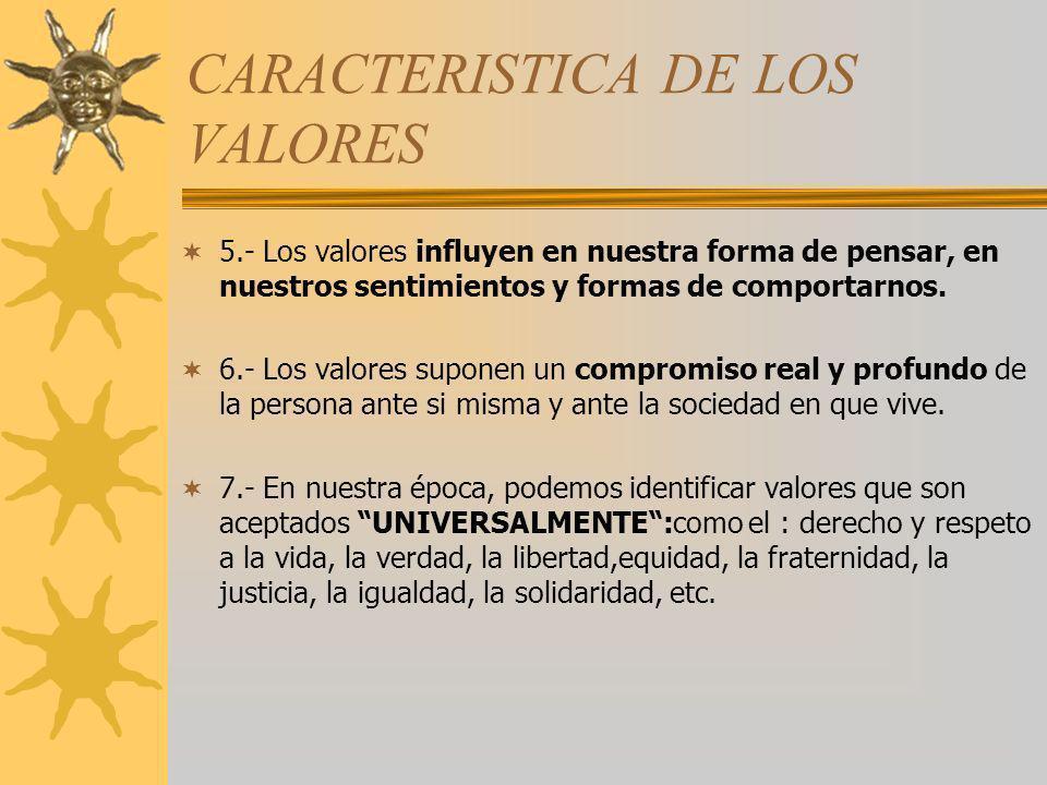 CARACTERISTICA DE LOS VALORES