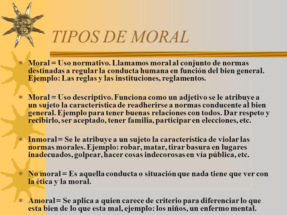 TIPOS DE MORAL