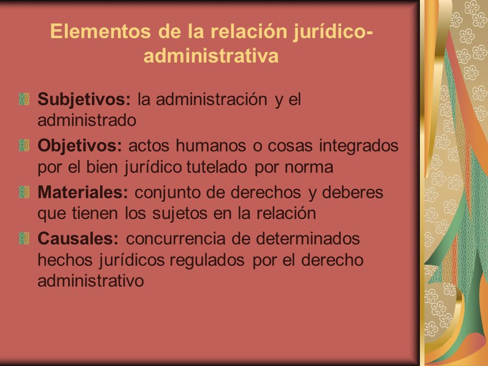 Elementos de la relación jurídico-administrativa