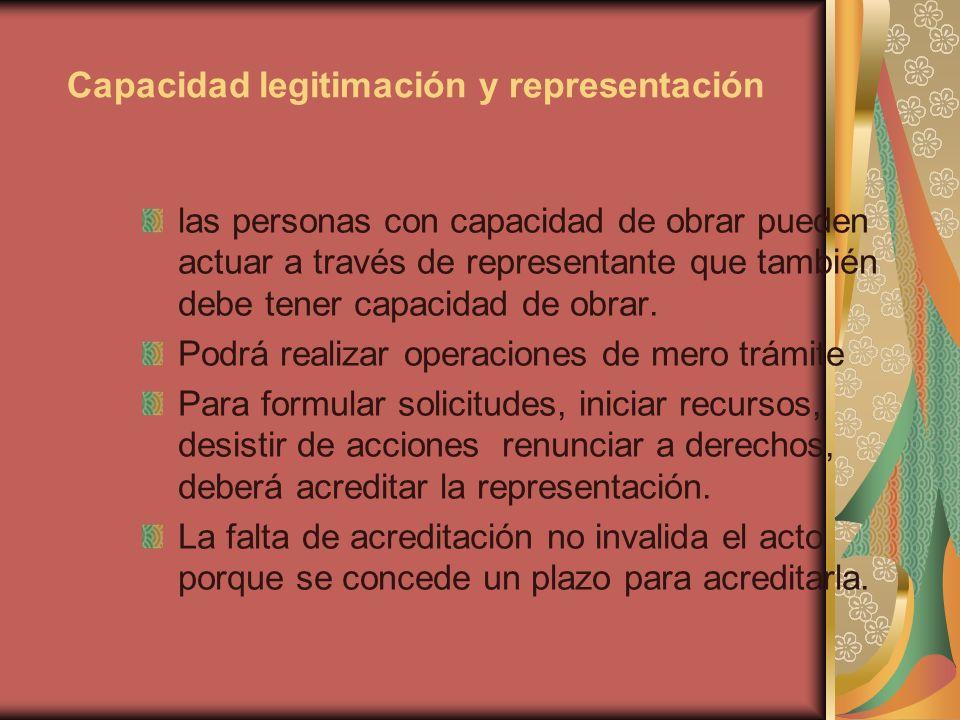 Capacidad legitimación y representación