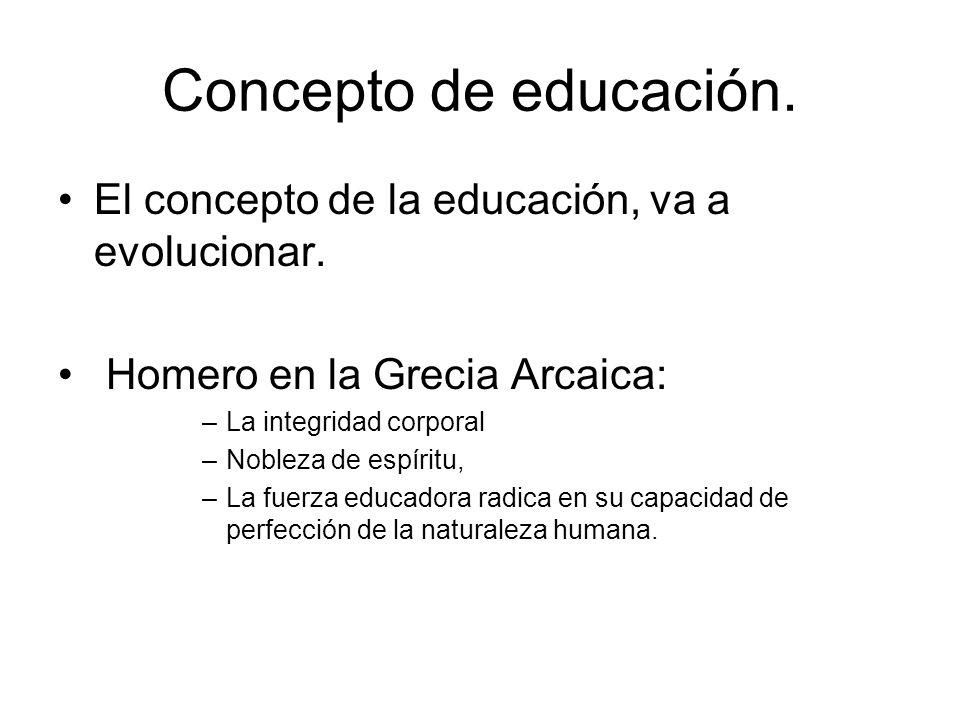 Concepto de educación. El concepto de la educación, va a evolucionar.