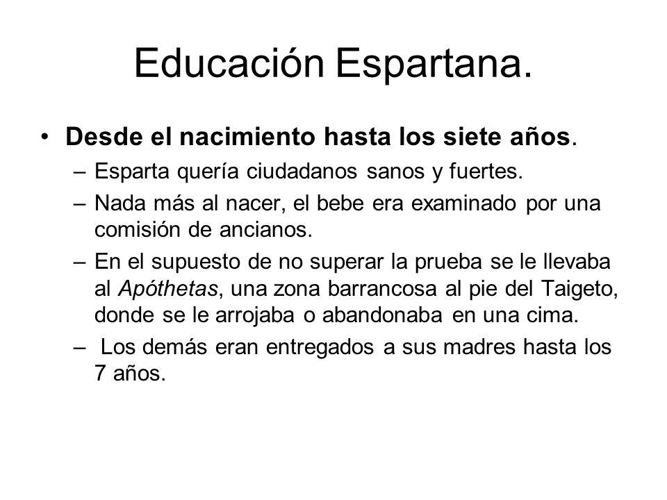 Educación Espartana. Desde el nacimiento hasta los siete años.