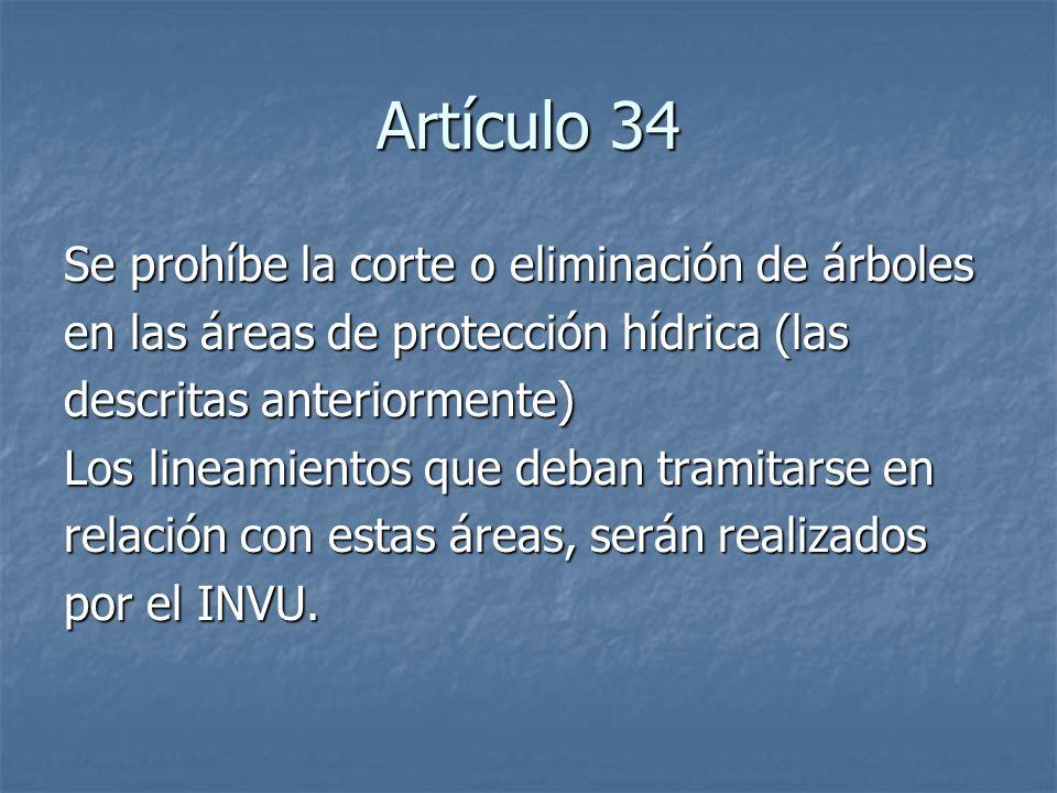 Artículo 34 Se prohíbe la corte o eliminación de árboles