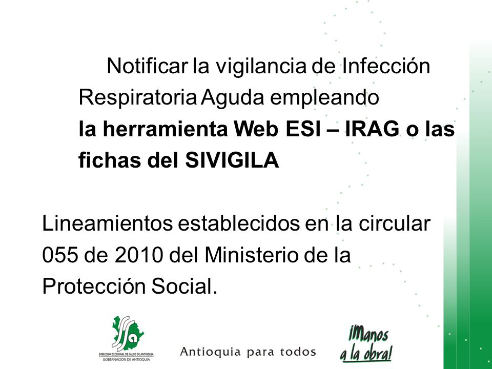Notificar la vigilancia de Infección