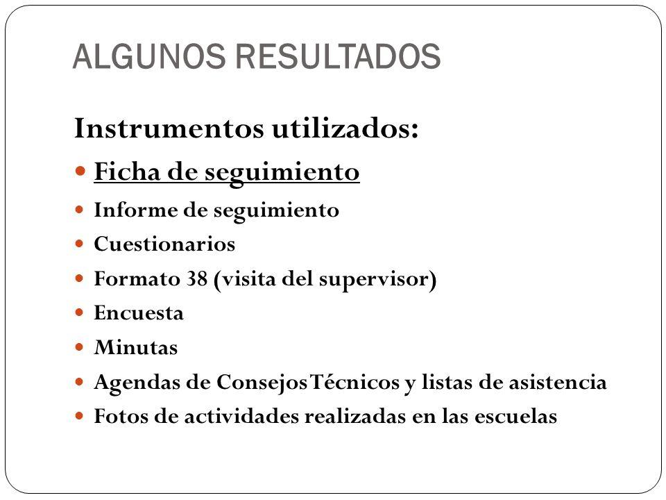 ALGUNOS RESULTADOS Instrumentos utilizados: Ficha de seguimiento