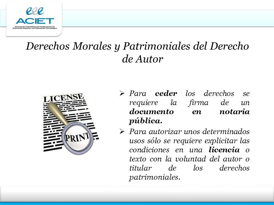 Derechos Morales y Patrimoniales del Derecho de Autor