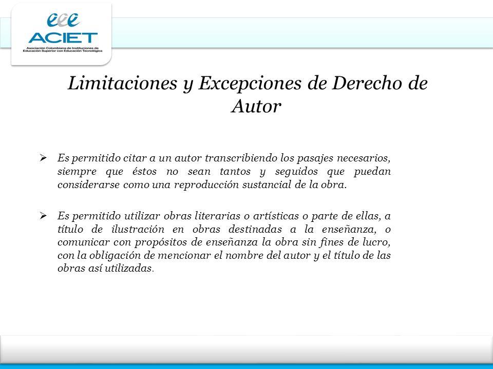 Limitaciones y Excepciones de Derecho de Autor