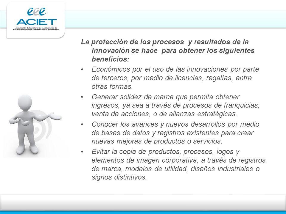 La protección de los procesos y resultados de la innovación se hace para obtener los siguientes beneficios: