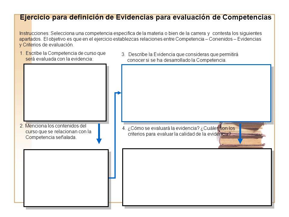 Ejercicio para definición de Evidencias para evaluación de Competencias