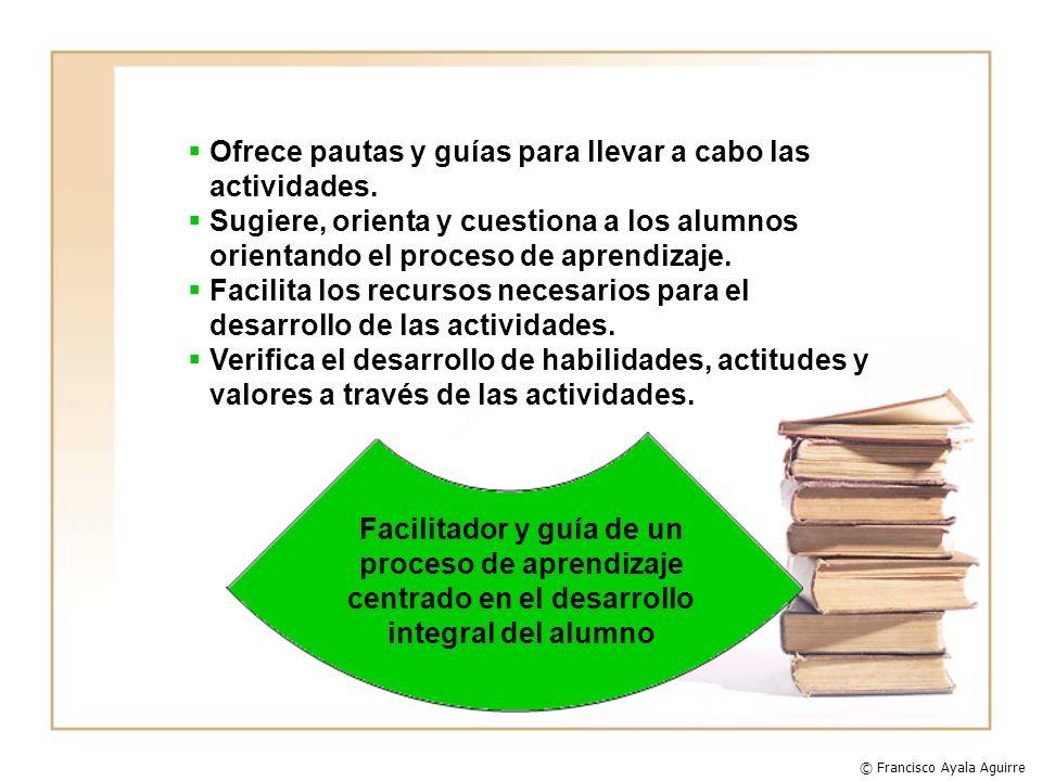 Ofrece pautas y guías para llevar a cabo las actividades.
