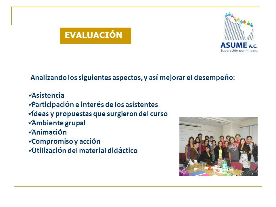 EVALUACIÓN Analizando los siguientes aspectos, y así mejorar el desempeño: Asistencia. Participación e interés de los asistentes.