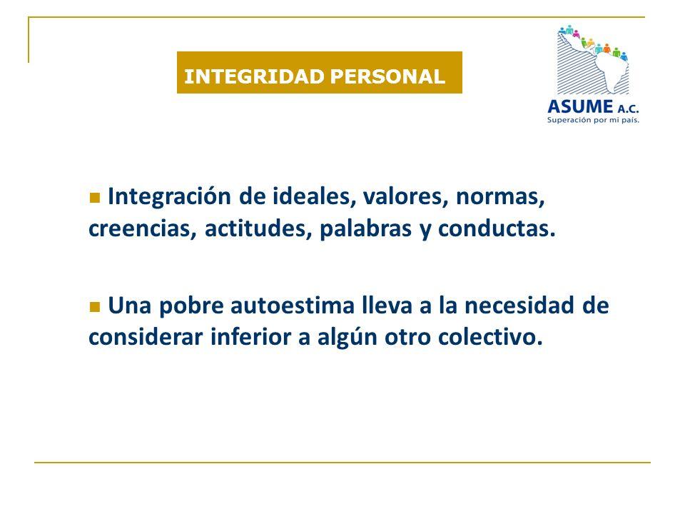 INTEGRIDAD PERSONAL Integración de ideales, valores, normas, creencias, actitudes, palabras y conductas.