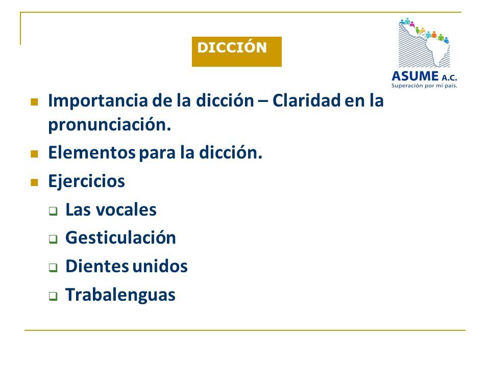 Importancia de la dicción – Claridad en la pronunciación.