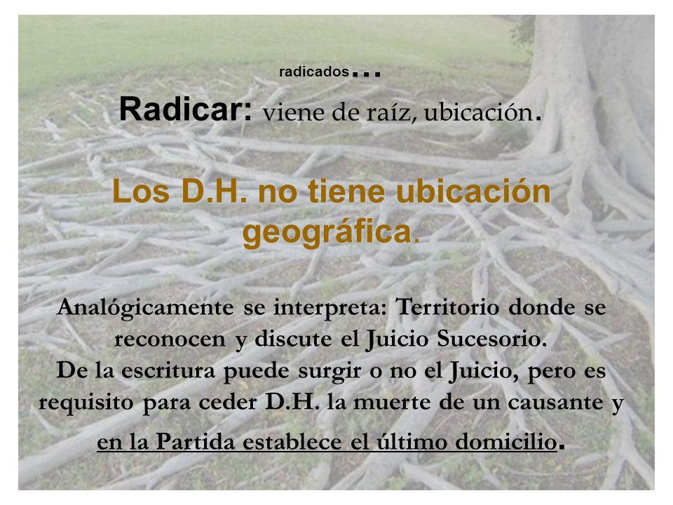 Radicar: viene de raíz, ubicación.
