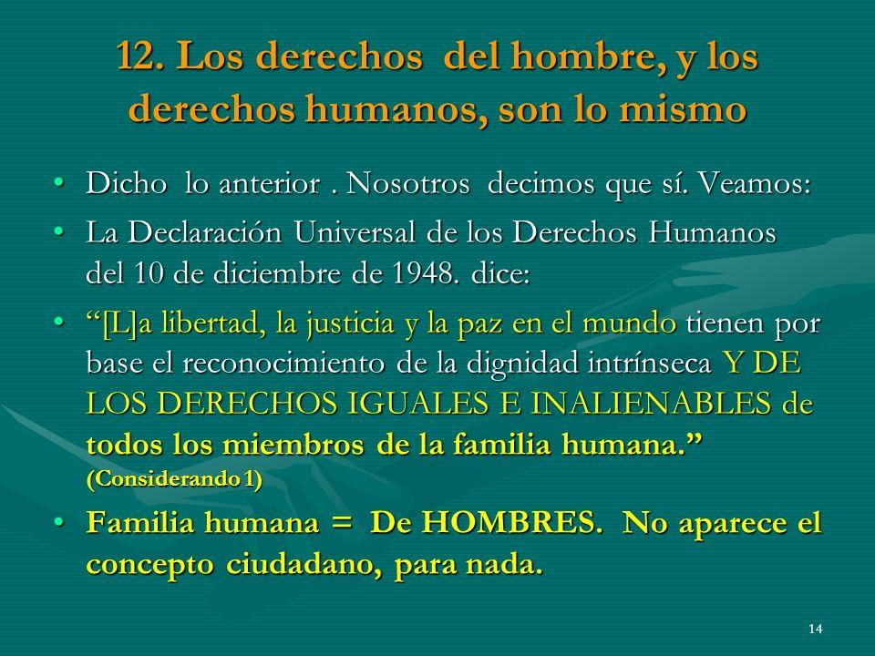 12. Los derechos del hombre, y los derechos humanos, son lo mismo