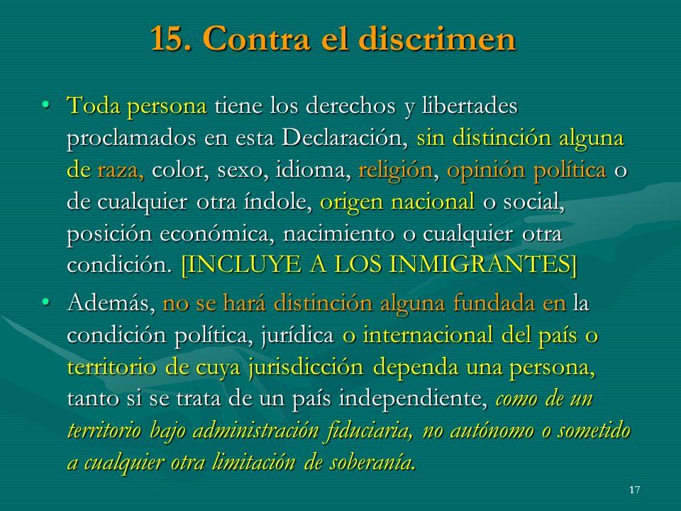 15. Contra el discrimen