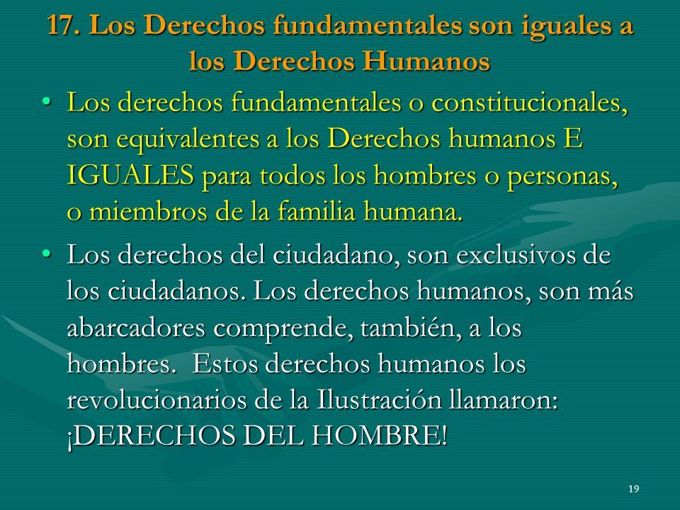 17. Los Derechos fundamentales son iguales a los Derechos Humanos