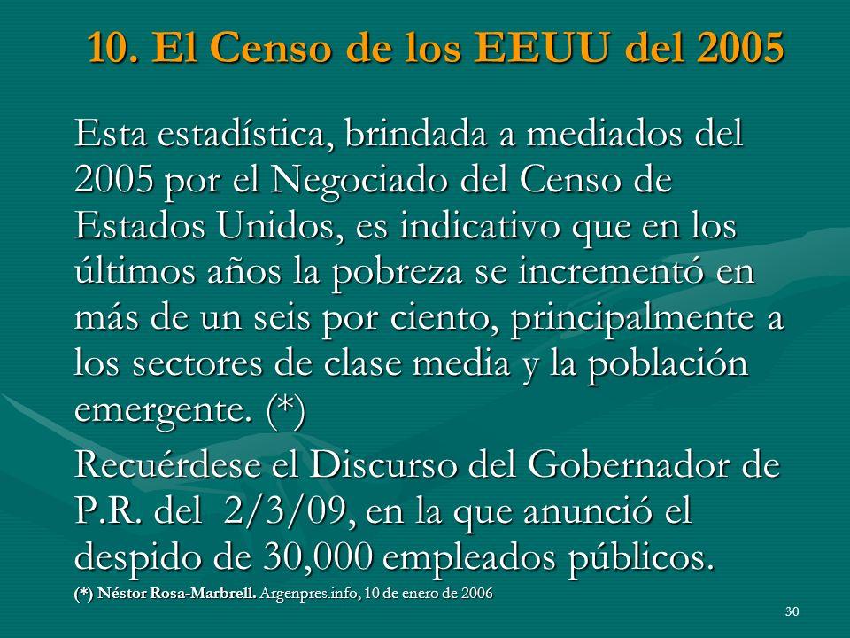 10. El Censo de los EEUU del 2005