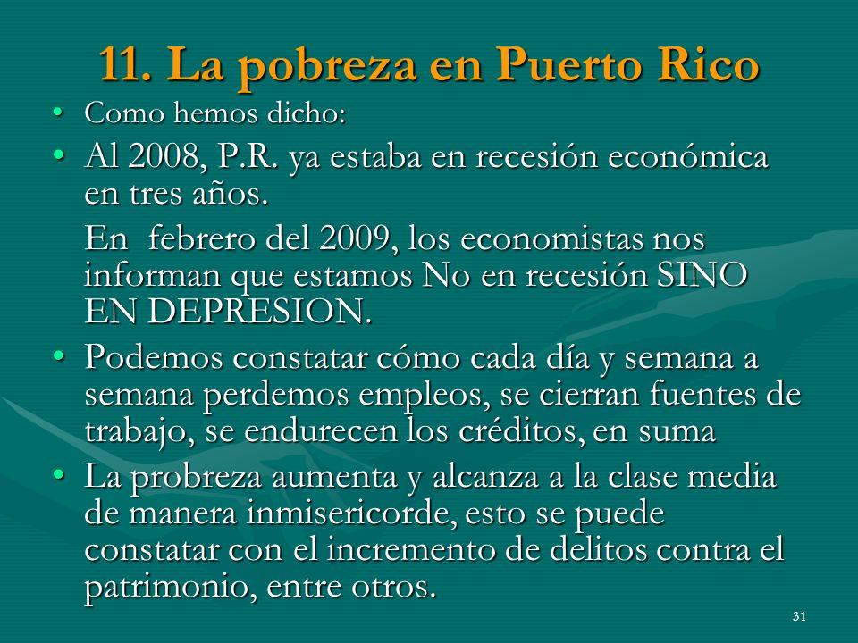 11. La pobreza en Puerto Rico