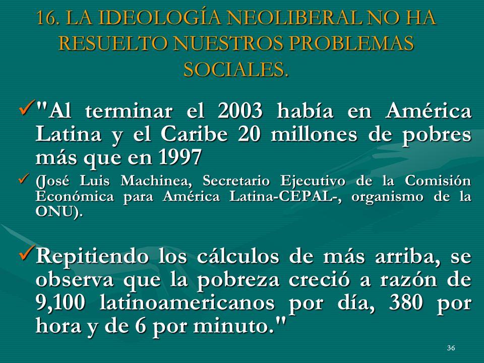 16. LA IDEOLOGÍA NEOLIBERAL NO HA RESUELTO NUESTROS PROBLEMAS SOCIALES.