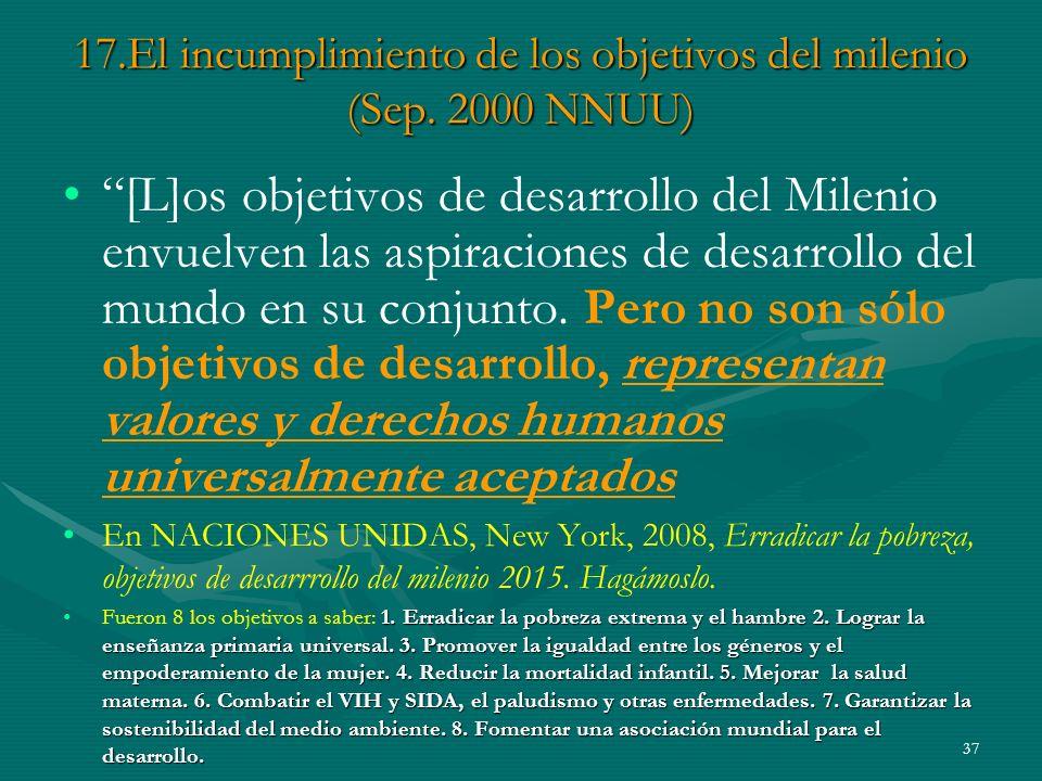 17.El incumplimiento de los objetivos del milenio (Sep. 2000 NNUU)