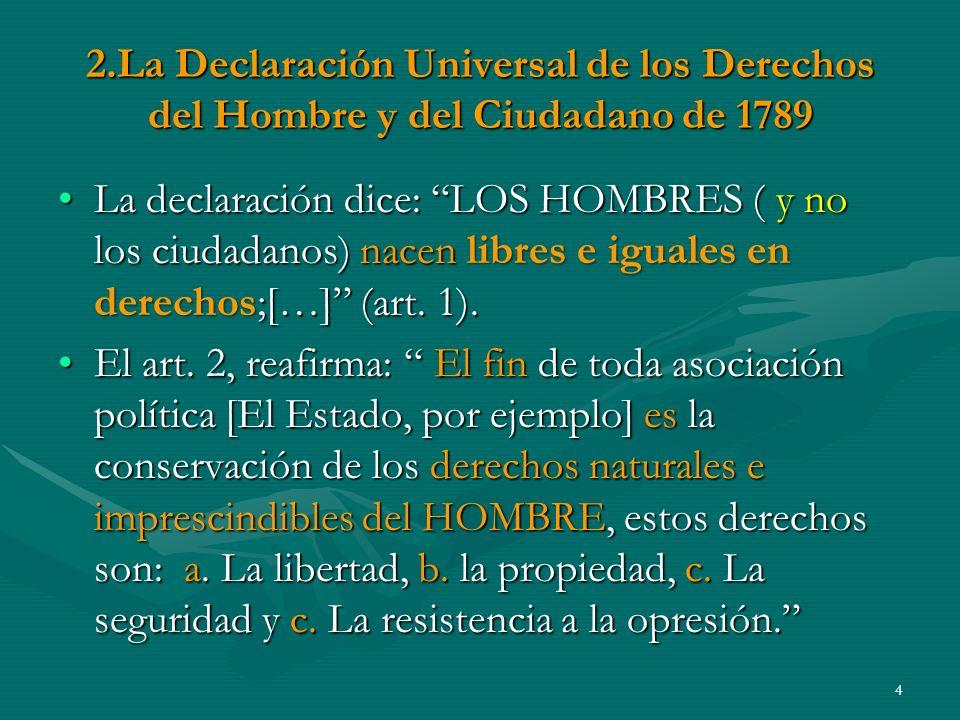 2.La Declaración Universal de los Derechos del Hombre y del Ciudadano de 1789