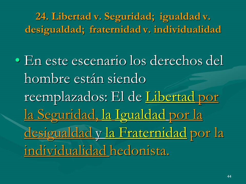 24. Libertad v. Seguridad; igualdad v. desigualdad; fraternidad v