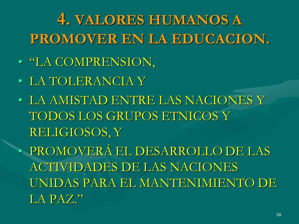 4. VALORES HUMANOS A PROMOVER EN LA EDUCACION.
