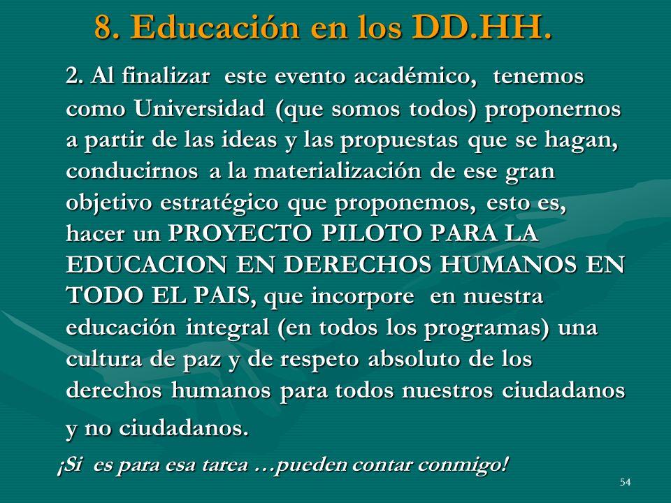 8. Educación en los DD.HH.