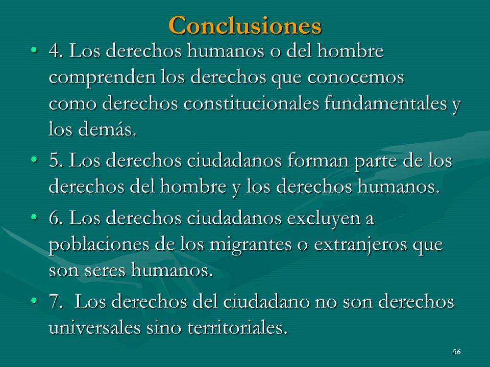 Conclusiones 4. Los derechos humanos o del hombre comprenden los derechos que conocemos como derechos constitucionales fundamentales y los demás.